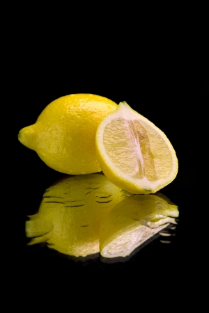 Lemon on mirror  photo
