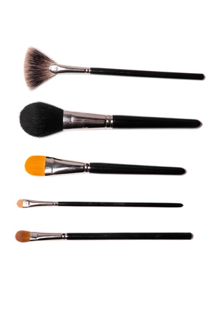 Sammlung von Make-up Pinsel auf weißem Standard-Bild