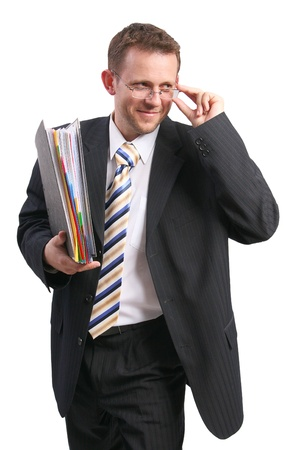 businessman holding glasses and folder photo
