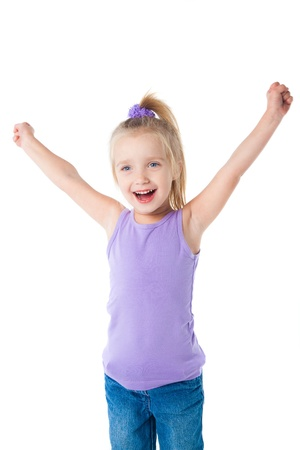happy smiling little girl in purple t-shirt isolated