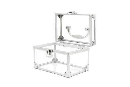 Open silver transparent box over white  Stock Photo