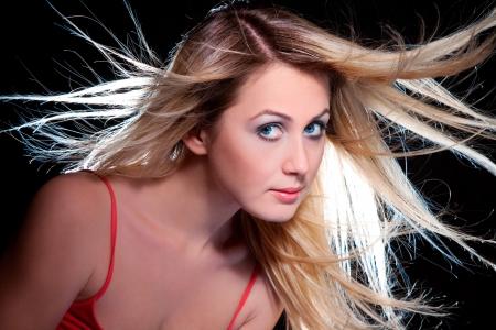 flying hair: blond girl with flying hair