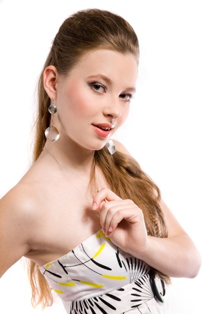 beautiful girl with earrings Stock Photo - 17534430
