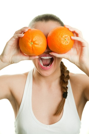 Face of joyful girl holding oranges by her eyes and laughing Stock Photo - 17534431