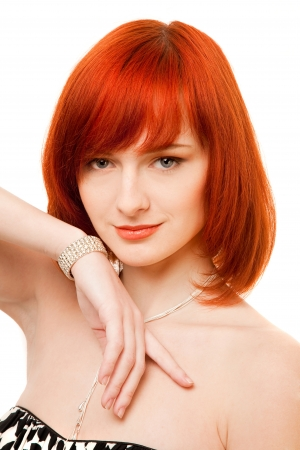 beautiful redhead woman with necklace and bracelet Stock Photo