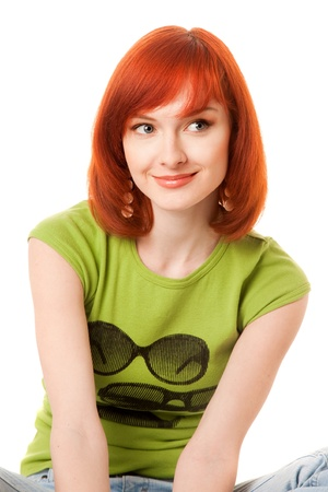 beautiful redhead girl in green t-shirt Stock Photo