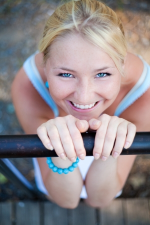 lovely beautiful blonde woman with amazing eyes outdoor Stock Photo - 17605481