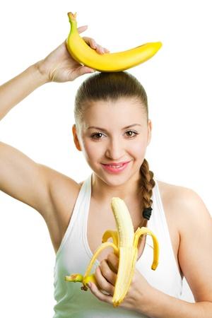 Beautiful girl with two bananas Stock Photo - 17605472