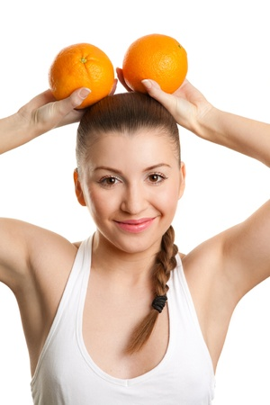 Beautiful girl with two juicy oranges Stock Photo - 17605473