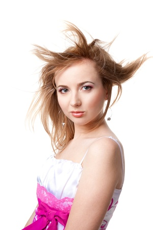 flying hair: beautiful girl with flying hair