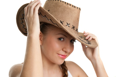 Beautiful Smiling Cowgirl Stock Photo - 17702001