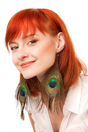 beautiful redhead giwl with peacock earring earrings