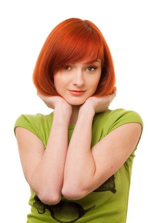 beautiful redhead girl in green t-shirt Stock Photo