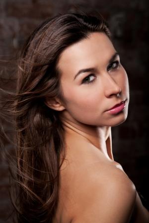 portrait of beautiful  sexy brunette girl