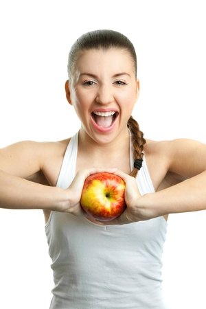 Beautiful young woman with  red apple Stock Photo - 17891433