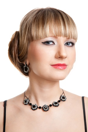 Beautiful girl  with necklace and earrings