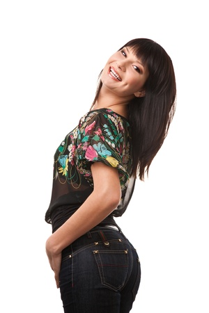 Attractive brunette woman wearing jeans Stock Photo