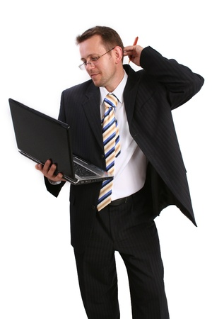 lap top: businessman with lap top Stock Photo