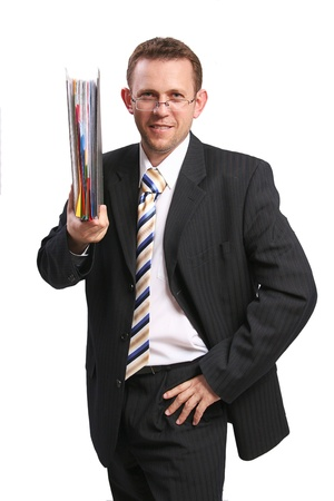 businessman holding folder photo
