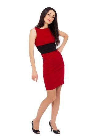 Сексуальная женщина в красном туфлях