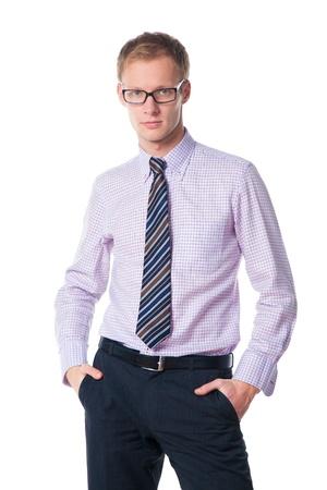 handsome businessman in glasses over white