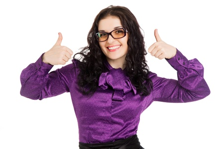 beautiful smiling brunette woman wearing shirt, skirt and glasses  showing thumbs up over white background