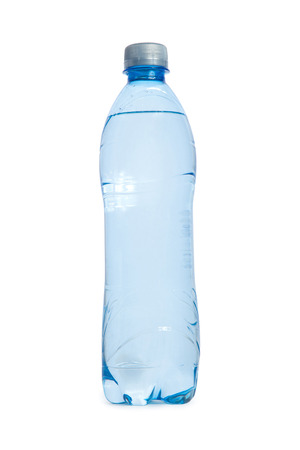 plastic transperent blue Bottle of water isolated on white background photo