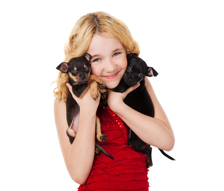 beautiful blonde little girl holding two puppies wearing red dress photo