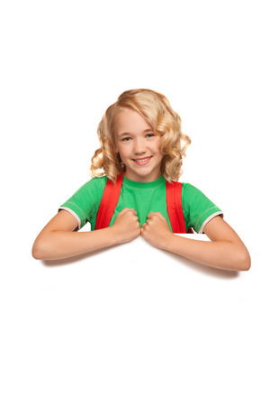 little blonde girl over blank billboard over white bakcground  Stock Photo