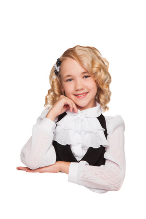 little blonde girl over blank billboard over white background