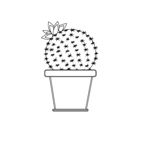 Black and white round cactus in a flower pot. Ilustrace