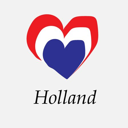 Hand-drawn flag of Holland in the shape of a heart
