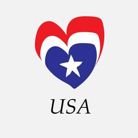 Hand-drawn flag of USA in the shape of a heart Ilustrace