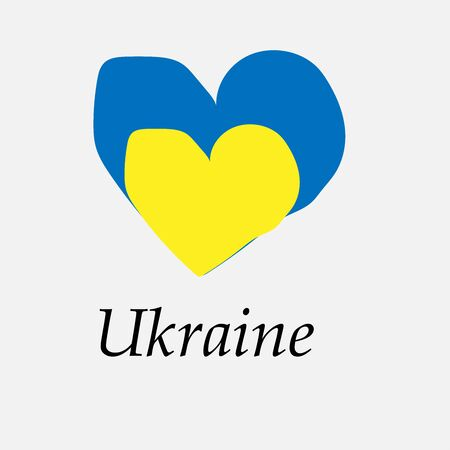 Hand-drawn flag of Ukraine in the shape of a heart  イラスト・ベクター素材
