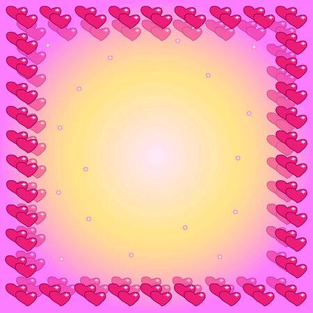 Frame of repeating two pink hearts with highlights. A similar translucent second frame. Pink and light yellow stars in the center. Background- pink, yellow and white gradient. 写真素材 - 140037579
