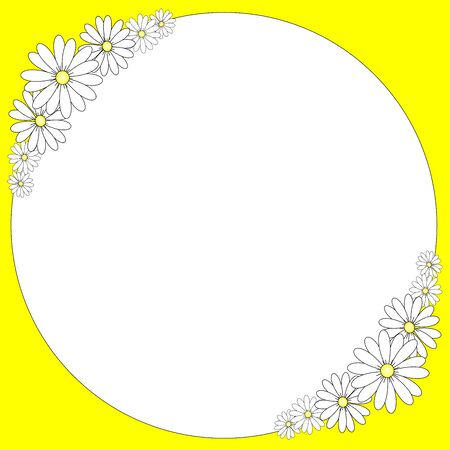 White and yellow frame with daisies