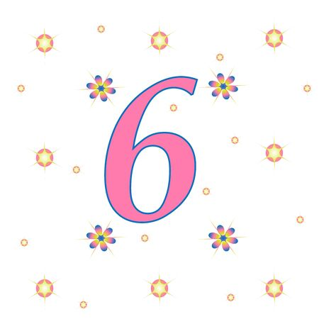 Numeral 6 with flowers and rhinestones.