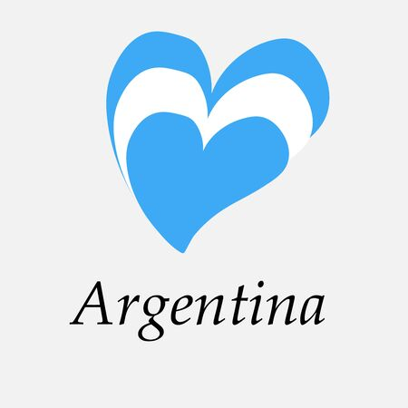 Hand drawn flag of Argentina in the shape of a heart