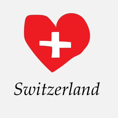 Hand-drawn flag of Switzerland in the shape of a heart