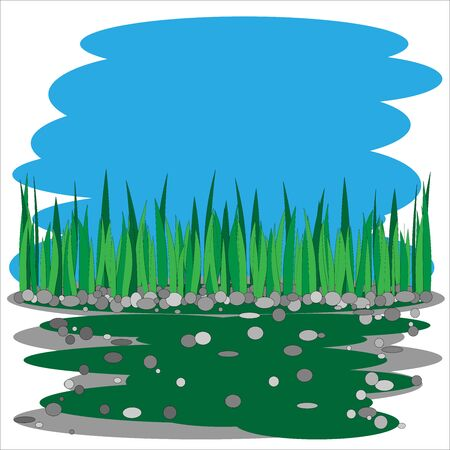 Glade of green grass on a blue and dark green background