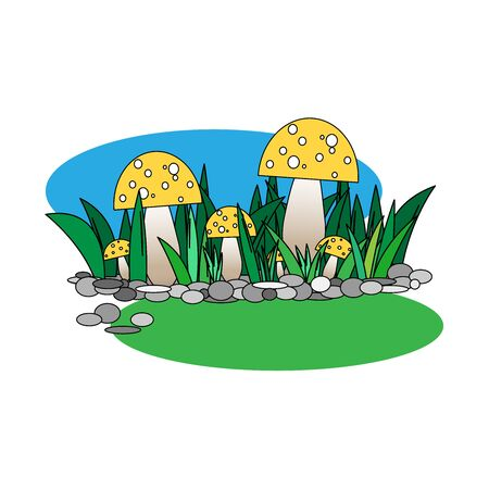 Glade of yellow toadstools and grass on a blue background 向量圖像