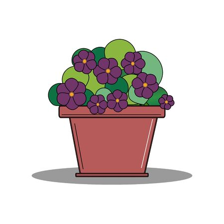 Purple violets in a flower pots Illustration
