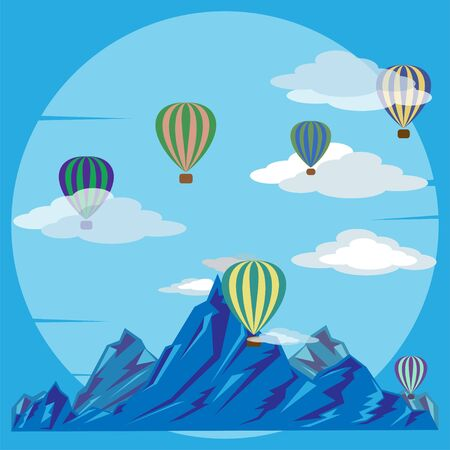 Bright multi-colored balloons over blue mountains