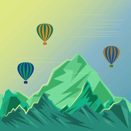 Balloon over mountains peaks illuminated by the sun