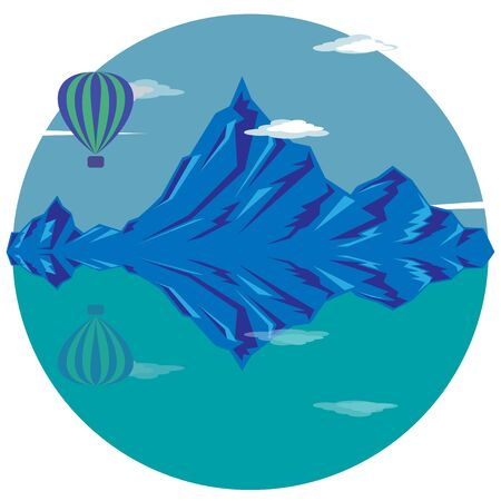 Balloon over blue mountains and lake