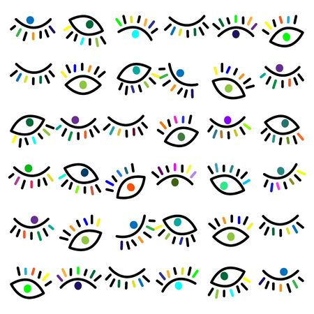 Vector simple bright pattern with third eye on a white background