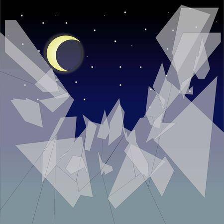 Vector broken glass against the background of the night sky 向量圖像