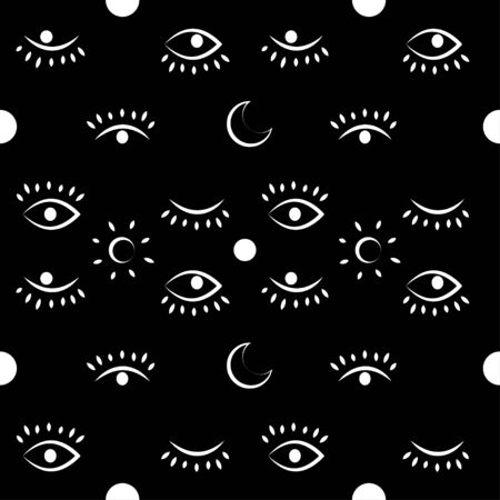Vector simple seamless pattern with third eye on a black background