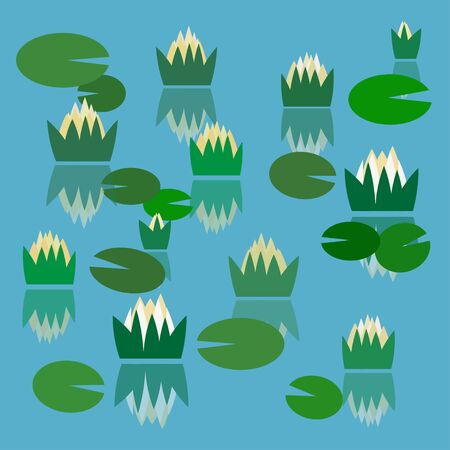 Simple vector pond with water lilies Ilustrace