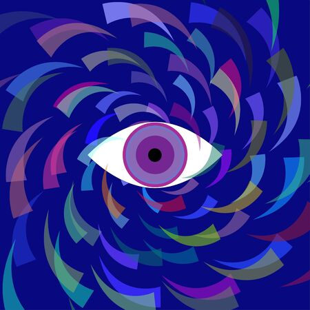 Vector simple pattern with third eye on a blue background